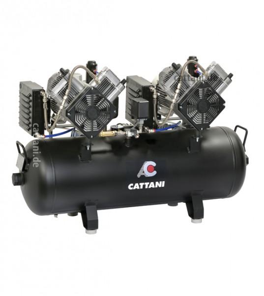 Cattani 2 Zylinder Tandem Kompressor mit 100 l Tank für 4 Behandler